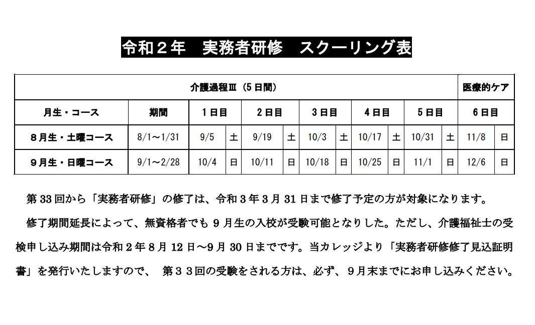 介護福祉士実務者研修・スクーリング表